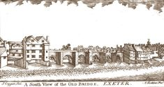 """""""A drawing of the medieval Exe Bridge by the early 19th century historian Alexander Jenkins c1806. It shows the houses that were built on the arches at either end of the bridge. The six arches in the centre remained clear of buildings and never seem to have had any structures on them."""" (Source: Demolition Exeter)"""