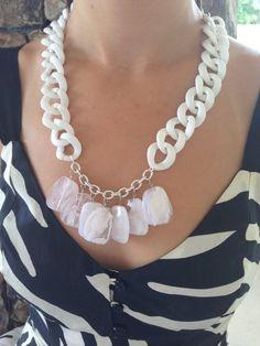White Statement necklace White Bib Necklace Women's by GraceAvenue, $25.00