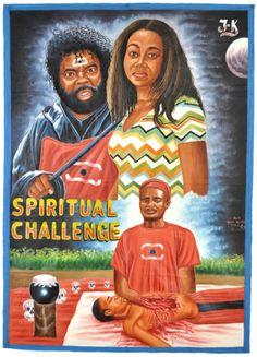 African Art Movie Poster Home Decor Hand Painted Ghana Spiritual Challenge Juju | eBay