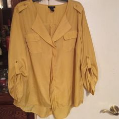 Yellow blouse Two pocket blouse Tops Blouses