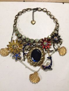 Betsey Johnson Necklace Mermaids Tale Dolphins Flowers Clams Rhinestones  Rare