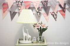 Mini pennant fabric banner  bunting in pale by oliverbludesigns, $24.00