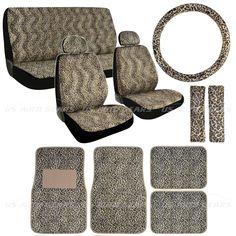 15pc Set Cheetah Car Seat Cover Beige Animal Print Floor Mats Wheel Belt Head #USAG #WildLifeCheetahAnimalPrint