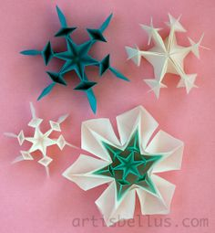 Origami Snowflakes. It might be a variation of one I have already done, but there are no instructions on this one.