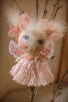Little cloth doll Fairy Angel soft pink by suziehayward on Etsy, $55.00   SOLD