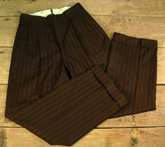 Vintage Men's 1940's Wool Pinstriped Pants 28/29 by Rustology, 78.00