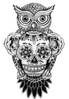 Owl candy skull tattoo tattoo black and grey pinterest for Owl and sugar skull tattoo
