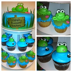 Toadally Awesome Cake for Jake's teachers--I know, I know, they are frogs, not toads. lol