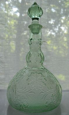 Attractive Tiara Indiana Glass Chantilly Green Sandwich Wine Decanter U0026 Stopper Nice Ideas