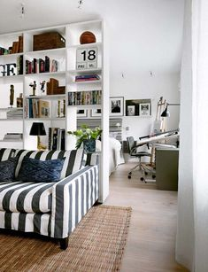 The 33 Most RAD Room Divider Ideas Around! DIY Room Dividers and Other Room Divider Ideas to Section Spaces In Beautiful Ways! Create Cozy Reading Nooks, Privacy Screens, and Offset Bedroom Areas in Small Studio Apartments with these Awesome Ideas! #roomdividers #roomdividerideas #DIYroomdivider #DIYroomdividerideas #roomdividercurtain #roomdividerbedroom #roomdividerglass #roomdividerscreen #roomdividerhanging #roomdividerscreen #roomdividerfolding #roomdividerbookcase #roomdividerstudio Ikea Room Divider, Bookshelf Room Divider, Room Divider Curtain, Room Dividers, Room Divider Ideas Bedroom, Open Bookcase, Bookshelf Styling, Pallet Room, Small Studio Apartments
