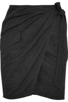 Étoile Isabel Marant - Olga Cotton-twill Wrap Mini Skirt - Black - FR38