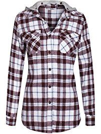 BodiLove Women's Warm Flannel Long Roll Up Sleeve Button Up Plaid Shirt