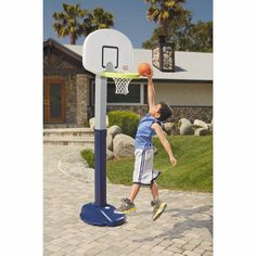 Basketball Hoop For Kids 5 Height Adjusts 4-6 Ft Portable Easy Score NBA Fun #LittleTikes