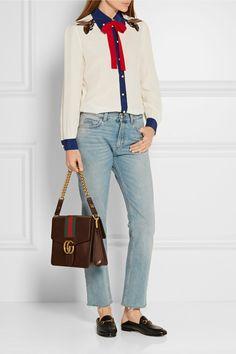 Gucci   Pussy-bow embellished silk crepe de chine shirt   NET-A-PORTER.COM