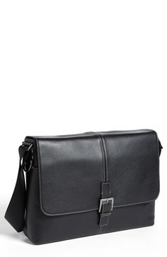 Men's BOCONI 'Tyler' Leather Buckle Laptop Messenger Bag - Black
