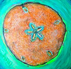 """Sand dollar painting...SOLD...childhood memory: """"Sifting through the surf for sand dollars:)"""" by Ann Lutz."""