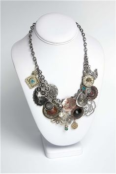 Share your favorite products on Pinterest and receive a 5 dollars off a 50 dollar order coupon! (Minimum $50 order after volume discount) Antique Road Show Pendant Cluster Necklace   Free Jewelry Patterns   Prima Bead