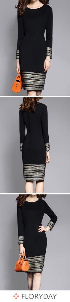Geometric Long Sleeve Knee-Length Sheath Dress - How To Be Trendy Trendy Dresses, Elegant Dresses, Fashion Dresses, Bodycon Outfits, Winter Dress Outfits, Frack, New Dress, Dress Long, Pretty Outfits