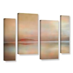 ArtWall 'Cora Niele's Landscape Sunset' 4-piece Gallery Wrapped Staggered Set