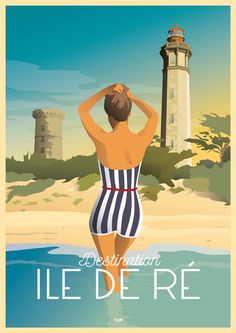 Vintage Travel Posters, Vintage Ads, Tourism Poster, Ville France, Art Deco Posters, Beaches In The World, Travel Images, Digital Illustration, Poster