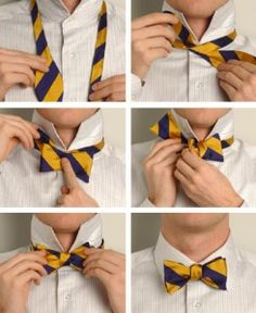 Self Bow Ties..PERFECTION!  Pre-tied bow ties are for whimps!   LOL