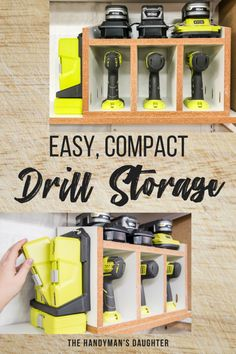 Keep all your drills, batteries and bits in one compact space! This DIY cordless drill storage rack has room for three drills or impact drivers, three chargers or batteries, and multiple bit sets o… Diy Storage Rack, Tool Storage, Garage Storage, Storage Organization, Barn Storage, Woodworking Organization, Awesome Woodworking Ideas, Easy Woodworking Projects, Woodworking Jigs