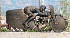 Bronze Racer (Eyellgeteven) Tags: sculpture art bike statue metal bronze artwork racing harley harleydavidson motorcycle biker hd brass rider racer eyellgeteven