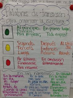 Palabras de transicion Dual Language Classroom, Bilingual Classroom, Bilingual Education, Spanish Classroom, Elementary Spanish, Spanish Anchor Charts, Writing Anchor Charts, Spanish Teaching Resources, Spanish Lessons