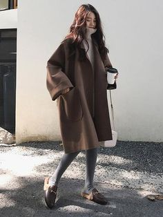 Korean 2018 Autumn Winter Women'S Loose Oversized Coat Casaco Feminino Black Coffee Long-Sleeved Casual Woolen Coat With Pocket Korean Winter Outfits, Korean Outfits, Mode Outfits, Korean Fashion Winter, Autumn Fashion, Korean Fashion Trends, Korean Street Fashion, Korea Fashion, Women's Coats