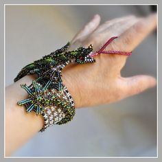 Green Dragon Bracelet  Baby Dragon Fantasy by FrancescasFancy, $1275.00