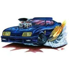 Barrett 1966 Mustang 289 HP Coupe Cartoon Car Wall Graphic Decal Decor Boys Room in Toys & Hobbies, Radio Control & Control Line, RC Engines, Parts & Accs Ford Falcon, Mad Max, Weird Cars, Cool Cars, Crazy Cars, Caricatures, Cartoons Magazine, Truck Art, Garage Art