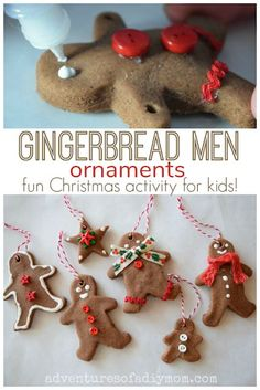 Salt Dough Gingerbread Ornaments Kids Christmas Craft is part of Kids Crafts Paint Salt Dough Create memories with your kids as you make gingerbread men ornaments for the tree These gingerbread me - Salt Dough Christmas Ornaments, Cinnamon Ornaments, Gingerbread Ornaments, Homemade Ornaments, Christmas Ornaments To Make, Christmas Crafts For Kids, Homemade Christmas, Christmas Fun, Christmas Ribbon
