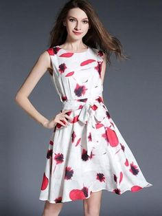 White Lace up Printing Women s Day Dress 51158d97cea3