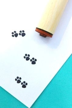 Paw Prints Rubber Stamp by norajane on Etsy….little feet of my not so little pup