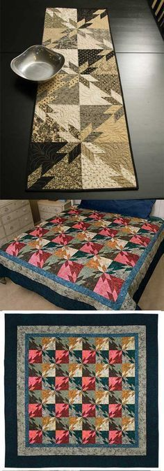 Hunter's Star Simplified Quilt Pattern--uses HSTs instead of y seams--love the table runner