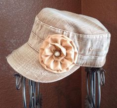 Women's Distressed army cadet hat-light brown jean wash hat on Etsy, $22.00