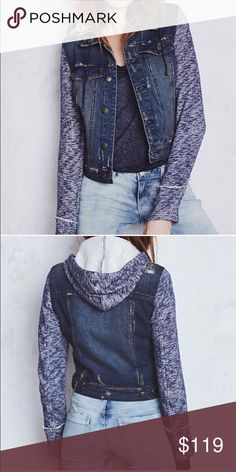 Free People Jean jacket Absolute must have this fall! I adore this! Free people Indigo Rin Jean jacket. It's a combo denim/knittted jacket with hood. 100% cotton, so it's machine washable. New with tags. Size Small. Completely sold out! True to size Free People Jackets & Coats Jean Jackets
