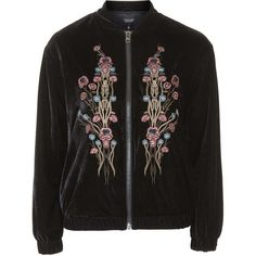 TOPSHOP Velvet Embroidered Bomber Jacket (1 520 ZAR) ❤ liked on Polyvore featuring outerwear, jackets, coats & jackets, black, topshop, embroidery jackets, flight jacket, black jacket, flight bomber jacket and blouson jacket