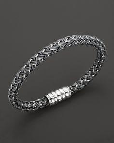 John Hardy Men's Bedeg Silver Bracelet on Grey Nylon Cord