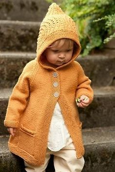 Supposed to be a knitting pin.I just love the precious face! (sf) Ravelry: Clementine Hoodie pattern by Carrie Bostick Hoge Baby Knitting Patterns, Knitting For Kids, Knitting Projects, Crochet Patterns, Baby Pullover, Hoodie Pattern, Baby Sweaters, Pulls, Ravelry
