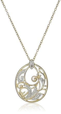 18k Yellow Gold-Plated and Diamond-Accented Pendant Necklace, 18' >>> You can find more details by visiting the image link.