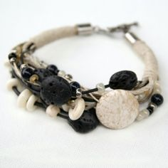 Make an earthy layered bracelet using natural beads, hemp and leather. Full tutorial.