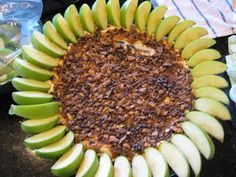 Granny Smith apples and dip. Ingredients:  1 Block Cream Cheese, room temperature  4 Tablespoons Confectioners Sugar  Caramel Sundae Sauce  Mini Chocolate Chips  Crushed Heath Bar  Granny Smith Apples, sliced & soaking in lemon juice/water until ready to serve.