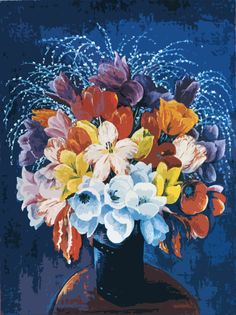 Bouquet of Tulips by Moise Kisling mono deluxe Needlepoint Canvas by Venneart