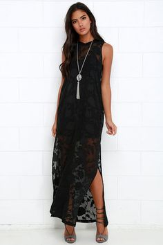 Burnout floral textures and dreamy chiffon collide to give us the incredible Gentle Fawn Tower Black Sleeveless Maxi Dress! Knit crew neck meets semi-sheer woven chiffon with a gorgeous burnout floral print. The lightweight fabric drapes from a relaxed-fitting sleeveless bodice, to a maxi-length hem with thigh-high side slits. Detachable knit, mini-dress slip. 100% Polyester. Hand Wash Cold. Imported.