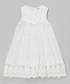 Another great find on #zulily! Off-White Lace Babydoll Dress - Toddler & Girls by Funkyberry #zulilyfinds