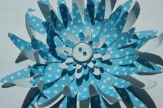 Polka Dot Paper Flower Hairclip by aquamay on Etsy, $5.00