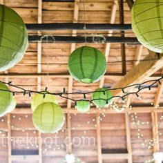 The large green paper lanterns and simple twinkle lights hanging from the ceiling added a casual, romantic ambiance to the site. Garden Party Wedding, Wedding Reception, Our Wedding, Wedding Stuff, Reception Decorations, Event Decor, Reception Ideas, Wedding Decoration, Purple Lantern