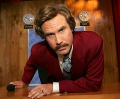 Beard & mustache project: Ron Burgundy in Anchorman. Stern expression accomplished through wrinkles in forehead and diagonal line of mustache.