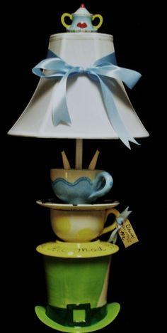 Alice In Wonderland Mad Hatter Tea Party Lamp. $135.00, via Etsy.